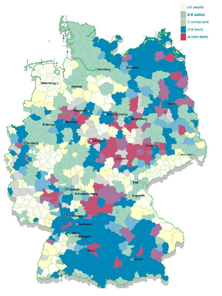 wasserhärte deutschland karte Wasserhärte in Deutschland – acwaservice / aboutwater